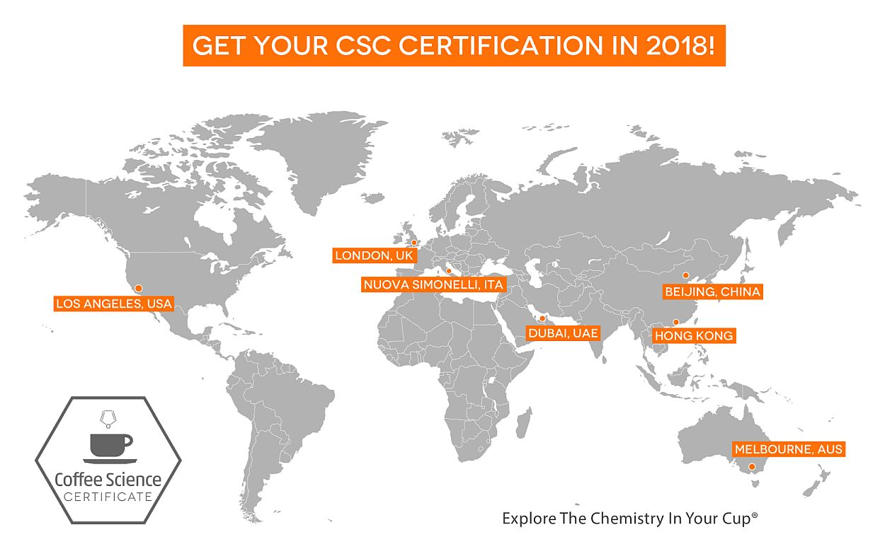 2018 World Map of Coffee Science Certificate (CSC) seminars