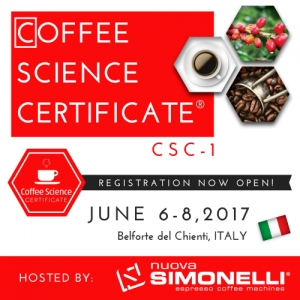 Coffee Science Certificate (CSC-1) coming to Italy!